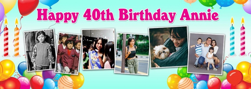 6 photo overlap birthday banner
